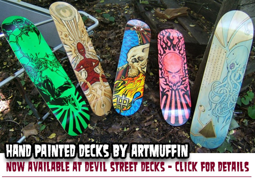 ARTmuffin deck designs at Devil Street Decks!
